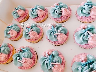 mariasweetcakery Gender reveal cupcakes